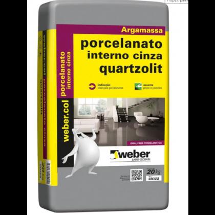Argamassa Porcelanato interno 20KG cinza - Quartzolit