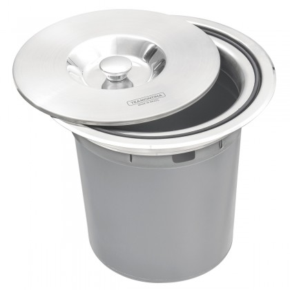 Lixeira de Embutir Clean Round em Aço Inox com Balde Plástico 5 L 94518005 Tramontina