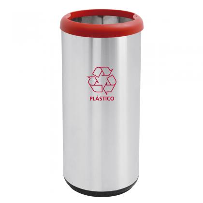 Lixeira Inox Cápsula Selecta Plus com Acabamento Scotch Brite e Aro Vermelho e Base preta em Polipropileno 40 L 94539222
