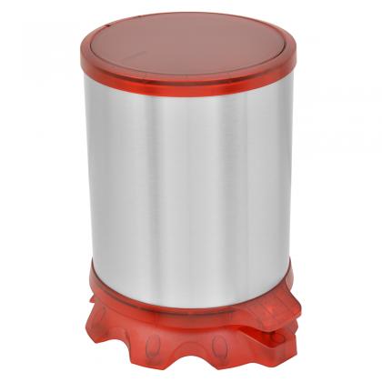 Lixeira Inox Sofie com Corpo em Inox com Acabamento Scotch Brite e Detalhes em Plástico Translúcido Vermelho com Pedal 5